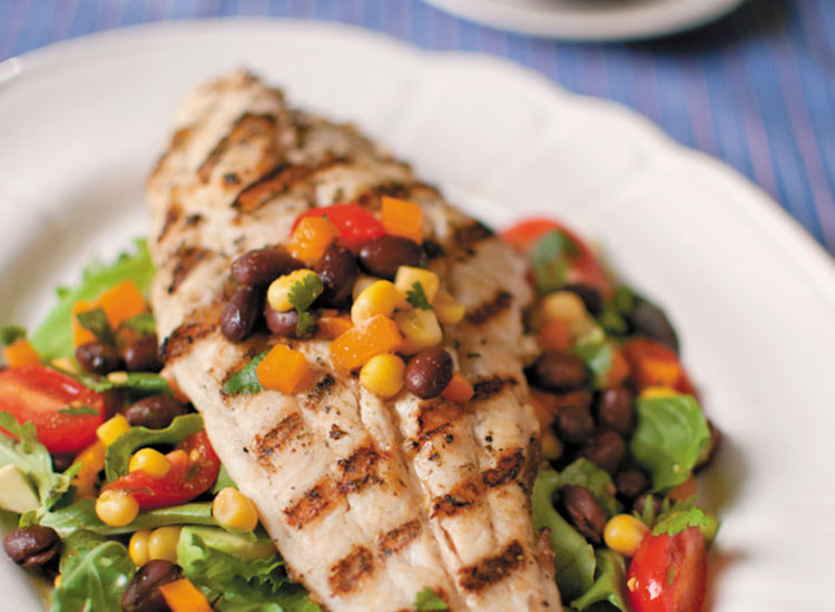 Caribbean Jerk Catfish with Black Bean Salad